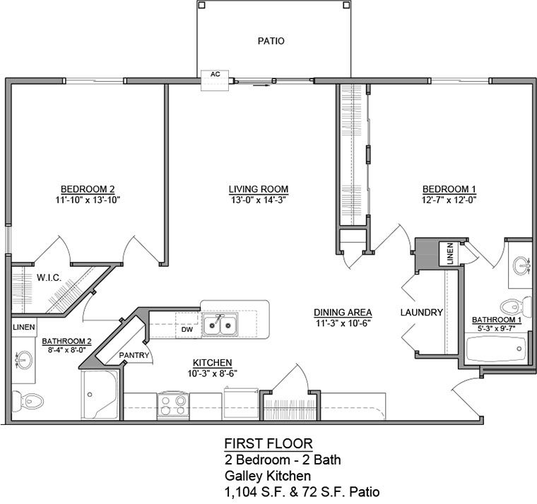 Apartment Unit B Rental Floorplan